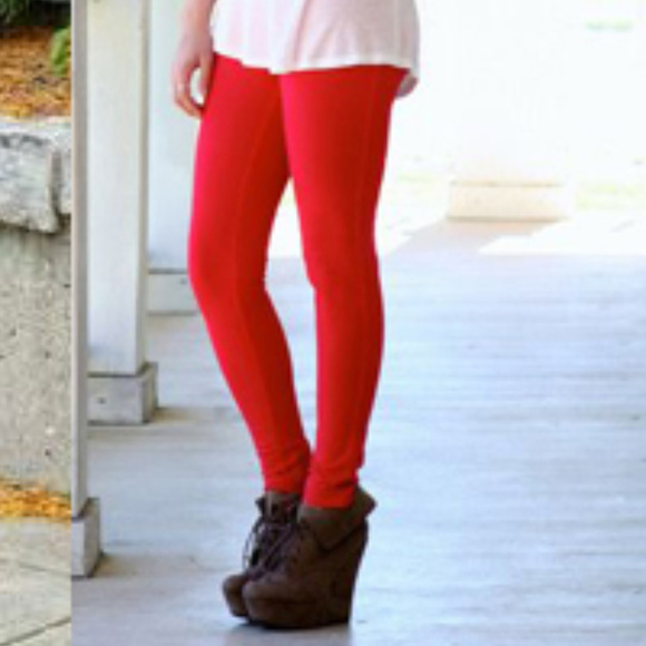 8e781ebf314f6 MODA ME COUTURE Pants | Thick Red Leggings | Poshmark